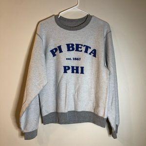 Pi Beta Phi Inside Out Grey Crew Neck Sweatshirt S